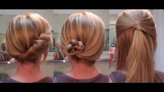 Easy Hairstyles for a date / work - hairstyles for long hair / hairstyles for medium hair, via YouTube.