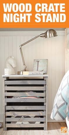 Build An On Trend Wood Crate Night Stand And Create Extra Storage For Your Bedside This Double Drawer Is Simple To With Our Do It Herself
