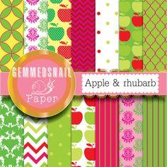 Pink and green digital paper apple digital paper. by GemmedSnail