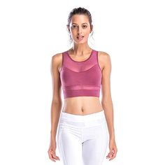 858ad99d08 Amazon.com  Move With You Women s Workout High Impact Support Crop Tank  Tops Yoga Sports Mesh Bra  Sports   Outdoors