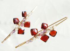 Garnet Gold Earrings Red Gemstone Wire Wrapped by Yukojewelry
