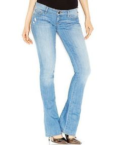 Guess NEW Light Blue Women's Size 26X33 Low Boot Cut Seamed Jeans $98 #289