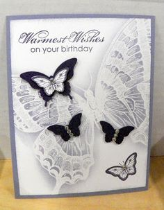 Different view of the butterfly stamp from Stampin' Up. White embossing and gray copic filled in. Handmade Greetings, Greeting Cards Handmade, Stampin Up Karten, Birthday Cards, Happy Birthday, Stamping Up Cards, Butterfly Cards, Paper Butterflies, Sympathy Cards