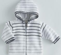 Pour un style sportwear tricotez pour bébé ce paletot à capuche et rayures. Un modèle composé en majorité de matière naturelle (60% coton), fermeture zippée, facile à tricoter.Modèle tricot n°10 du catalogue 85 Layette Bébé. Knitting For Kids, Baby Knitting Patterns, Free Knitting, Knit Or Crochet, Crochet Baby, Hooded Jacket, Winter Hats, Men Sweater, Couture