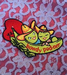 "Pea Pod Couple Patch 4"" ~ Embroidered Cowboy Iron On Heart Vintage Valentine Badge ~ Vegan Veggie Traditional Tattoo Femme Kawaii ~ @ fever.dream.boutique on instagram"
