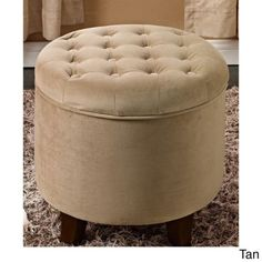 Large Round Tufted Storage Ottoman This Contemporary Piece Adds Style And Comfort To Any Room Each Round Ottoman Features Tufted Fabric With A Smooth Button Design A Living Room Furniture Ottoman Perfect As A Coffee Table Ottoman Or Footstool Tan -- For more information, visit image link.Note:It is affiliate link to Amazon.
