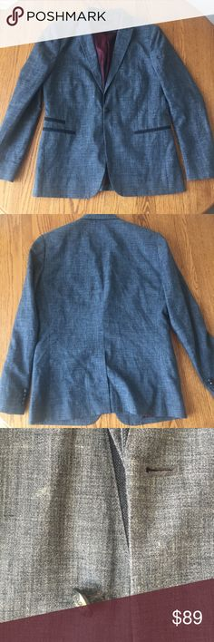 John Varvatos Gray Blazer Jacket Button is a bit loose with faded white spot right above the button (see photo). Otherwise great condition! Length is 30 in. Please ask if you have any questions! John Varvatos Suits & Blazers Sport Coats & Blazers