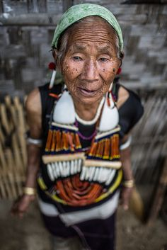 old woman of the angami tribe, wearing traditional clothing, near kohima, nagaland by anthony pappone photographer on Flickr.