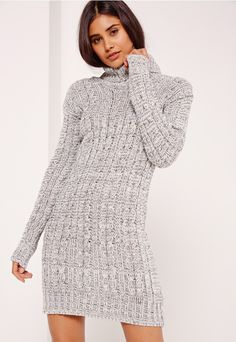 Robe-pull grise manches longues et col roulé - Missguided