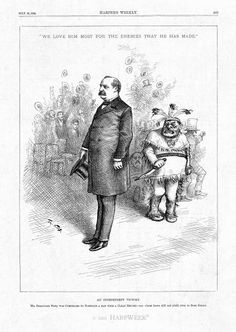 Thomas Nast drawing of Grover Cleveland, cover of Harpers Weekly from 1884