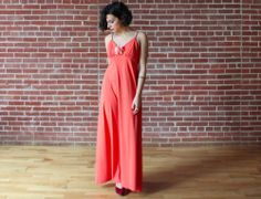 vintage 70s Peachy Orange Ruched Strappy Empire Hippie Spring Maxi Dress M #Dresses