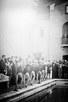 Old wedding ideas-- synchronized swimmers as wedding entertainment! Great photo.