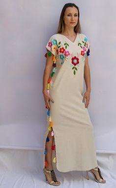 a8dccbd3dd Multi floral tassels Embroidered Bohemian Linen Folk Embroidery Maxi Kaftan  Dress Boho hippie. Sizes -