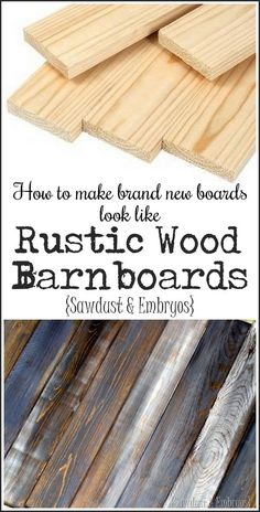 Make Distressed Wood Barn Boards from NEW Wood How to make brand new wood look like aged rustic barnboards IN 3 SIMPLE STEPS! {Sawdust and Embryos}How to make brand new wood look like aged rustic barnboards IN 3 SIMPLE STEPS! {Sawdust and Embryos} Into The Woods, Diy Holz, Weathered Wood, Distressed Wood Signs, Whitewash Wood, Antiquing Wood, Distressing Painted Wood, Reclaimed Wood Frames, Timber Frames