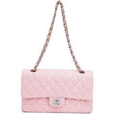 Chanel Vintage '2.55' bouclé shoulder bag (22.955 BRL) ❤ liked on Polyvore featuring bags, handbags, shoulder bags, quilted purse, white purse, vintage purse, shoulder handbags and white quilted purse