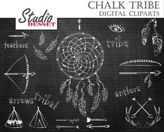 Chalckboard Tribal Cliparts Arrows Teepee Tents by StudioDesset, $4.90