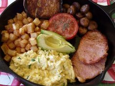 eggs with chives, peameal bacon, sauteed mushrooms, fried potatoes ...
