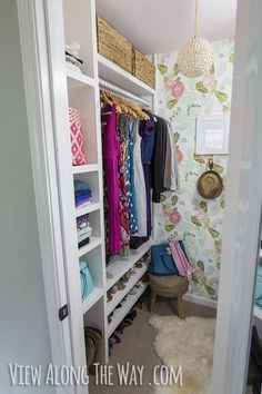 Stunning DIY closet makeover on a small budget -- check out all these ideas you can copy in your own home! SO many good ideas for a closet makeover. Glam Closet, Closet Redo, Master Bedroom Closet, Closet Space, Closet Makeovers, Entry Closet, Closet Remodel, Modern Closet, Luxury Closet