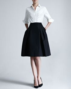 Silk Taffeta Shirt & Faille Party Skirt by Carolina Herrera at Neiman Marcus.