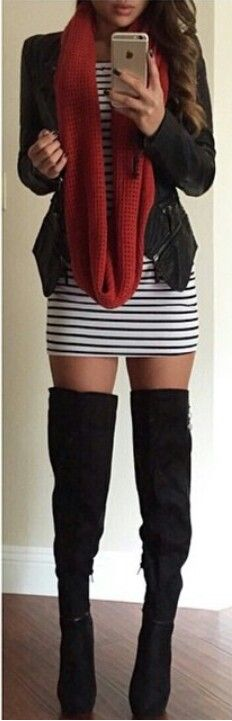 Black and white striped long sleeve over the shoulder fitted dress tall over-the-knee thigh ...