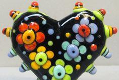 Zuma Blooms HeartHandmade Lampwork Glass Bead by beadygirlbeads, $35.00