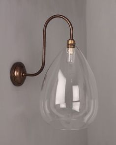 Designer Wall Light, Wellington Clear Glass Shade Swan Neck Bathroom Wall Light (IP44 Rated)