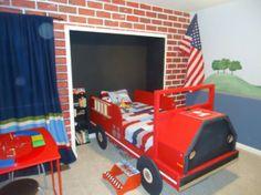 31 idées déco chambre  garçon - idées-déco- chambre-garçon-pompier-lit-rouge-camion