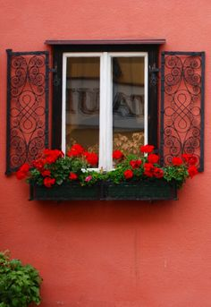 Melk, Austria - Lawn and Garden Today French Windows, Old Windows, Windows And Doors, Balcony Window, Window Sill, Window Bars, Flower Boxes, Flowers, Flower Window