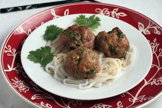 Asian Turkeyballs With Sesame Lime Sauce on Rice Noodles by pastaprincessandmore #Meatballs #Turkey #Asian