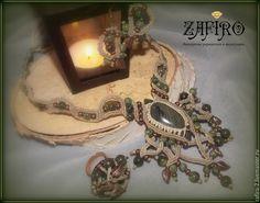 """Купить """"В сердце леса"""" колье, серьги, кольцо, макраме, лабрадор, бохо стиль"""