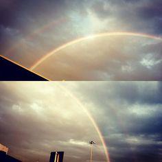 Welcome home #doublerainbow #rainbow #newyork #laguardia #newyorkcity #sky #rain #weather #colors #beauty