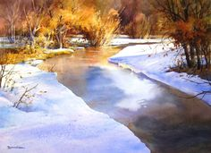 GICLEE LANDSCAPE - Icy River - large 25 x 36 , Giclee from original watercolor painting by Roland Lee - Watercolor Paintings by Roland Lee Watercolor Art Lessons, Watercolor Landscape Paintings, Watercolour Tutorials, Painting Lessons, Watercolor Techniques, Painting Techniques, Painting Videos, Watercolor Tips, Step By Step Watercolor