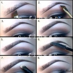 1.(the brush is in the wrong direction, lol) I line the bottom. 2. I fill in the ends that are almost non existent. 3. I kinda blend upward with the shadow 4. Fill in the top where it's needed 5. Fill in the front 6. Run a spoolie through them 7. Add concealer under 8. Done! I use Mac eyeshadow in brun or mystery, sometimes...