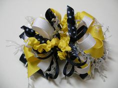 Hair Bow Navy Blue White Yellow Unique Funky Over by HareBizBows