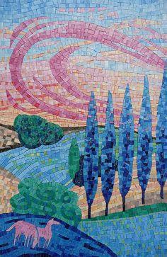 Dans le Pré, mosaic by Francoise Moulet