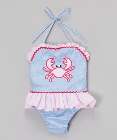 Loving this Blue & Pink Crab One-Piece - Infant & Toddler on #zulily! #zulilyfinds