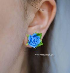 Jewelry  Earrings  Stud Earrings  Roses stud earrings  Flower studs  Clay roses  Flower earrings  Wedding jewelry Bridal earrings  LOW PRICE  fimo earrings  blue roses  pink roses  yellow roses  red roses  white rose