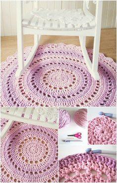 Crochet T shirt Yarn Rug.
