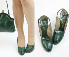 40s Shoes Platforms 6 / 1940s Peep Toe Slingbacks by CrushVintage