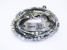 Hand Stamped Choose JOY Leather Multi Wrap