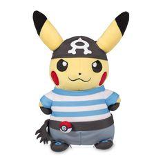 Official Team Aqua Pikachu Poké Plush. 8 1/4 inches tall, features Team Aqua bandana and striped shirt, plus a Poké Ball on its belt.