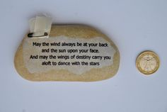 paperweight stone with aphorism may the wind di comivishop su Etsy