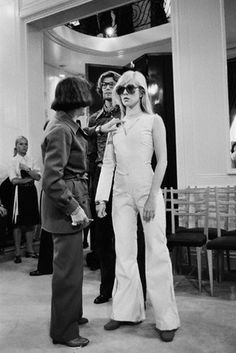 Sylvie Vartan at a fashion fitting with Yves Saint Laurent, 1970