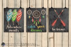 Tribal Wall Art Decor Set, Tribal Nursery Decor, Feathers, Arrows, Classroom Decor, Boho Birthday, Hunting Decor, Rustic Nursery DIGITAL  This set of three 8x10 printables will make a wonderful addition to rustic, tribal, woodland, and many other styles of decor. The set includes an Indian Feather Design with quote Adventure Awaits, an Arrow Design with quote Be Brave, and a Dreamcatcher Design with the quote catch your dreams, all in bright rustic colors. Just purchase, download, and print…