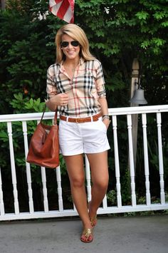 Summer wind: summer plaid outfits with white shorts, plaid shirt outfit sum Preppy Outfits, Preppy Style, Short Outfits, Fashion Outfits, Womens Fashion, Plaid Outfits, Preppy Casual, Fashion Clothes, Fashion Jewelry