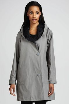 Eileen Fisher Reversible Hooded Coat | 10 Best Raincoats | Camille Styles