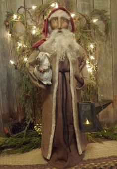 Old World Santa with Lamb and Candle