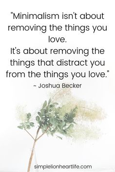 "Minimalism quotes: ""Minimalism isn't about removing the things you love. It's about removing the things that distract you from the things you love."" ~ Joshua Becker Check out these 25 simple living, decluttering and minimalism quotes to inspire and encourage you on your journey! #simpleliving #declutter #minimalism #simplelivingquotes #declutteringquotes #minimalismquotes"