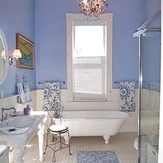 Hmmmmm.....I did a bathroom in our Partridge Road house that looked suspiciously like this, right down to the vintage plumbing fixtures. Still love this look, though I liked it with buttery yellow accents.