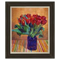 "Framed giclee print wall art with a tulip still life motif.  Product: Wall artConstruction Material: Paper, MDF, and polystyreneColor: Black frameDimensions: 25.75"" H x 21.75"" W"